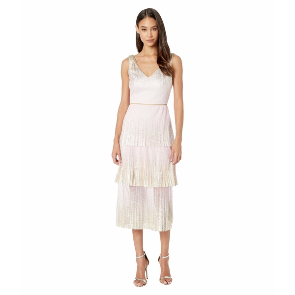 マルケサノット レディース ワンピース トップス V-Neck Pleated Foil Dgrad Tiered Cocktail Dress Blush