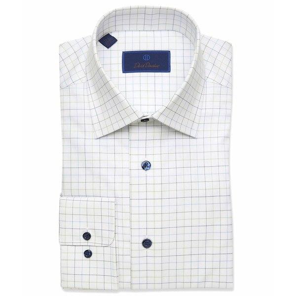 デイビッドドナヒュー メンズ シャツ トップス Regular Fit Large Check Dress Shirt White/Green