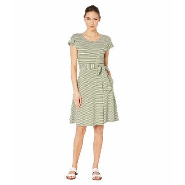 ドード アンドコー レディース ワンピース トップス Cue Wrap Short Sleeve Dress Bronze Green Stripe