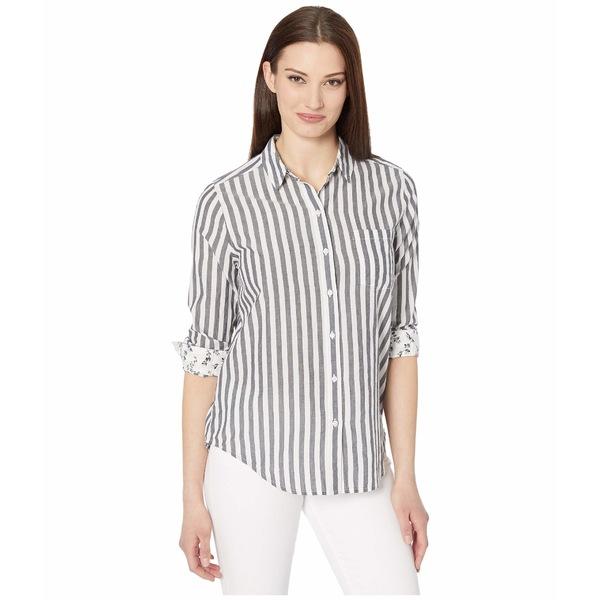 ラッキーブランド レディース シャツ トップス Long Sleeve Button-Up Striped Classic One-Pocket Shirt Navy Multi