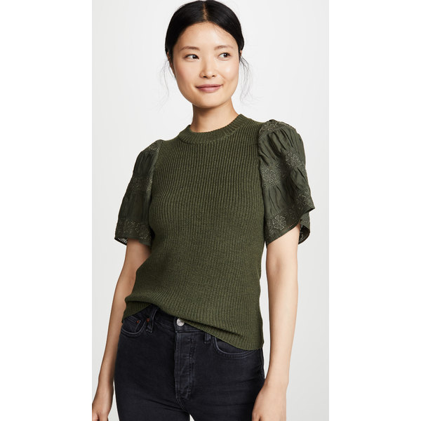 シー レディース シャツ トップス Audrey Short Sleeve Sweater Army