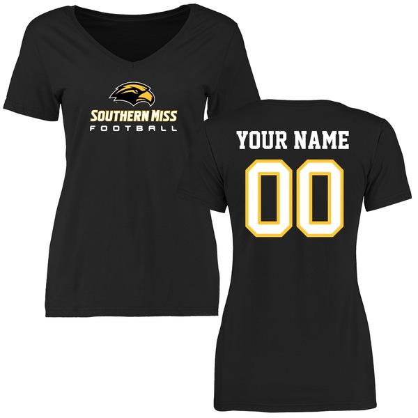 ファナティクス レディース Tシャツ トップス Southern Miss Golden Eagles Women's Personalized Football TShirt Black