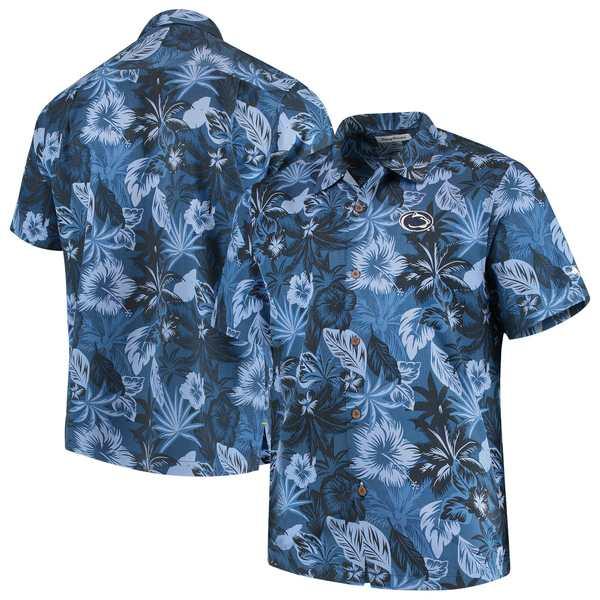トッミーバハマ メンズ シャツ トップス Penn State Nittany Lions Tommy Bahama Fuego Floral Silk Camp Shirt Navy
