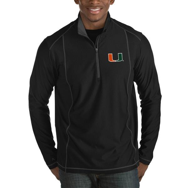アンティグア メンズ ジャケット&ブルゾン アウター Miami Hurricanes Antigua Tempo HalfZip Pullover Big & Tall Jacket Black
