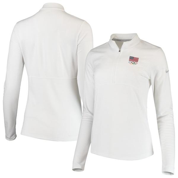 ナイキ レディース ジャケット&ブルゾン アウター Team USA Nike Women's Dry Top HalfZip Performance Jacket White