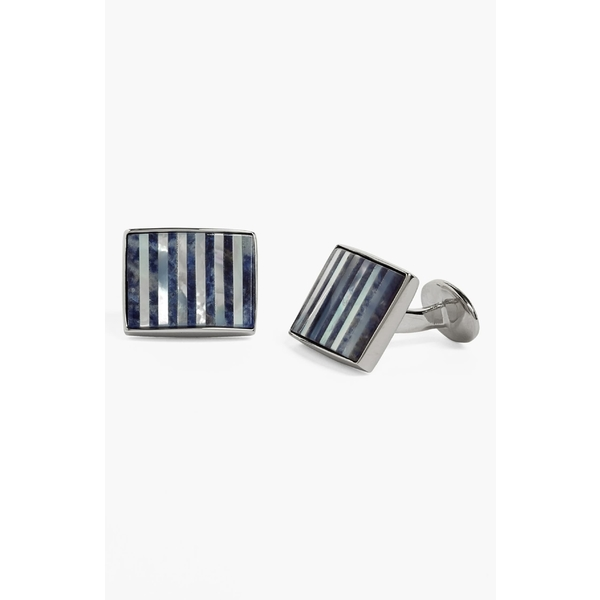 Lex /& Lu Sterling Silver Mother of Pearl /& Onyx Cuff Links