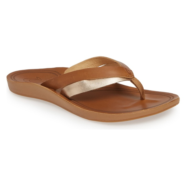 オルカイ レディース サンダル シューズ Olukai Kaekae Flip Flop (Women) Sahara/ Bubbly Leather