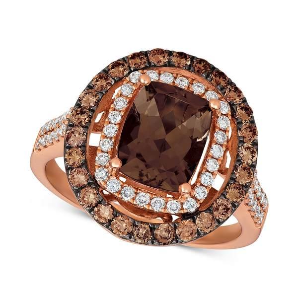 ずっと気になってた ルヴァン レディース リング アクセサリー Chocolate Chocolate Diamonds® Quartz® (1-9 14k/10 ct. t.w.), Nude Diamonds (1/3 ct. t.w.) and Chocolate Diamonds® (5/8 ct. t.w.) Statement Ring set in 14k Rose Gold Smokey Quartz, lexaniperfomancetires:186dfa04 --- greencard.progsite.com