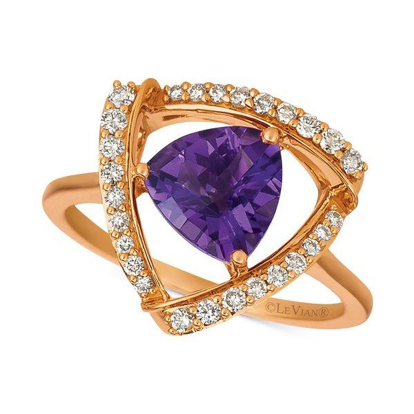 今季も再入荷 ルヴァン レディース アクセサリー リング Amethyst 全商品無料サイズ交換 Grape 1-5 8 ct. t.w. 1 Gold 14k Ring 4 使い勝手の良い Vanilla Rose in Statement Diamond