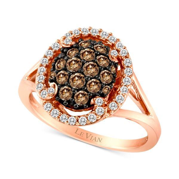 超可爱 ルヴァン レディース リング Rose アクセサリー Chocolatier® 14k Diamond Halo Cluster リング Ring (3/4 ct. t.w.) in 14k Rose Gold Rose Gold, アートワークスタジオ:b6f1e77d --- greencard.progsite.com