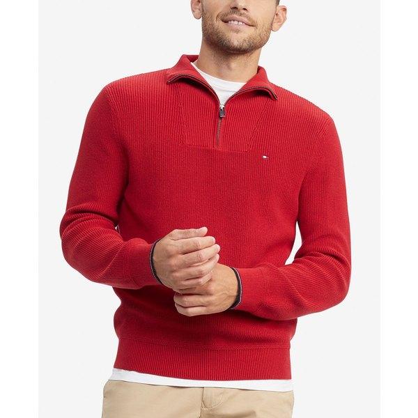 トミー ヒルフィガー メンズ ニット&セーター アウター Men's Peterson Classic-Fit Quarter Zip Sweater Chili Pepper Red