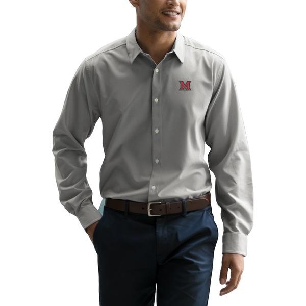 ビンテージアパレル メンズ シャツ トップス Miami University RedHawks Vansport Sandhill Dress Shirt Gray/White