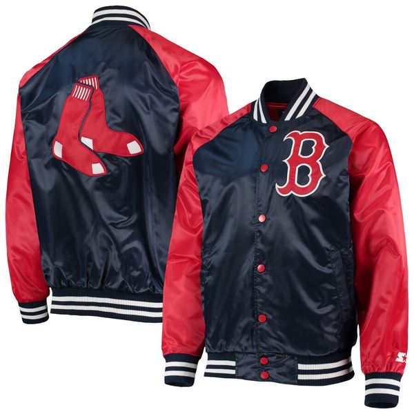 スターター メンズ ジャケット&ブルゾン アウター Boston Red Sox Starter The Lead Off Hitter Full-Snap Jacket Navy/Red