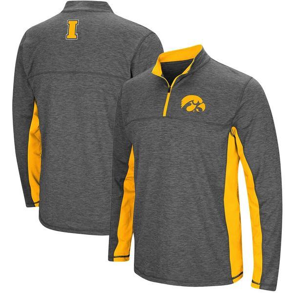 コロシアム メンズ ジャケット&ブルゾン アウター Iowa Hawkeyes Colosseum Milton Windshirt Quarter-Zip Pullover Jacket Heathered Charcoal