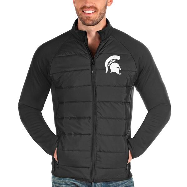 アンティグア メンズ ジャケット&ブルゾン アウター Michigan State Spartans Antigua Altitude Full-Zip Jacket Charcoal