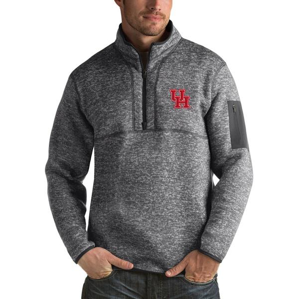 アンティグア メンズ ジャケット&ブルゾン アウター Houston Cougars Antigua Fortune 1/2-Zip Pullover Jacket Heathered Gray