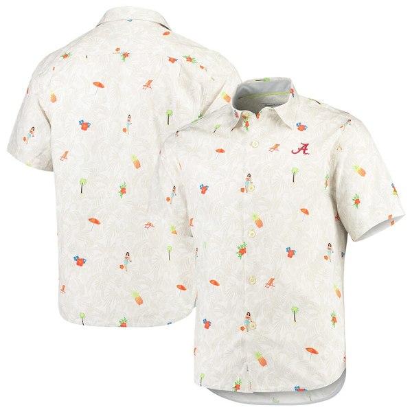 トッミーバハマ メンズ シャツ トップス Alabama Crimson Tide Tommy Bahama College Beach-Cation Button-Up Shirt White