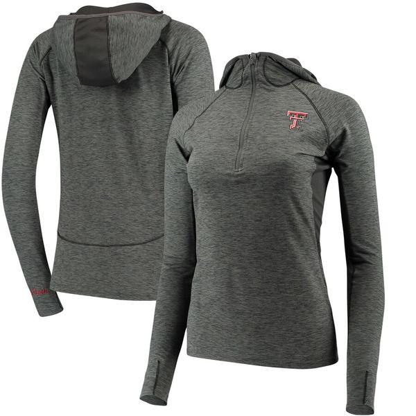 コロシアム レディース ジャケット&ブルゾン アウター Texas Tech Red Raiders Colosseum Women's Capo Ferro Windshirt Quarter-Zip Pullover Hoodie Heathered Charcoal