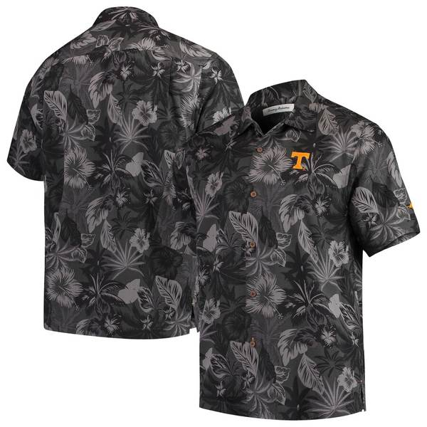 トッミーバハマ メンズ シャツ トップス Tennessee Volunteers Tommy Bahama Fuego Floral Silk Camp Shirt Black