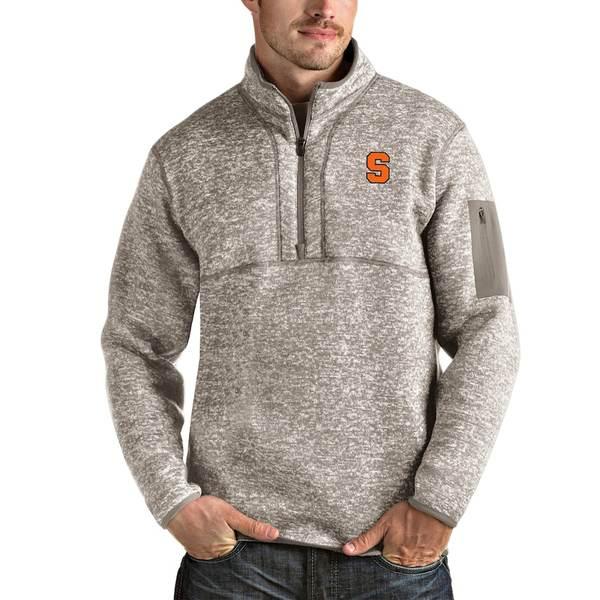 アンティグア メンズ ジャケット&ブルゾン アウター Syracuse Orange Antigua Fortune Half-Zip Pullover Jacket Oatmeal