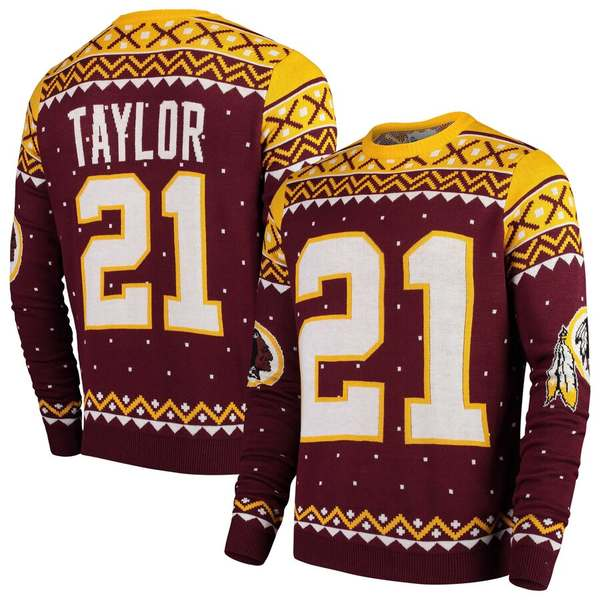 フォコ メンズ シャツ トップス Sean Taylor Washington Redskins Retired Player Name & Number Crewneck Sweater Burgundy