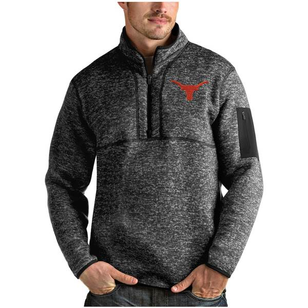 アンティグア メンズ ジャケット&ブルゾン アウター Texas Longhorns Antigua Fortune Quarter-Zip Pullover Jacket Heather Black