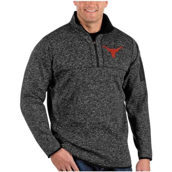 アンティグア メンズ ジャケット&ブルゾン アウター Texas Longhorns Antigua Fortune Big & Tall Quarter-Zip Pullover Jacket Heather Black