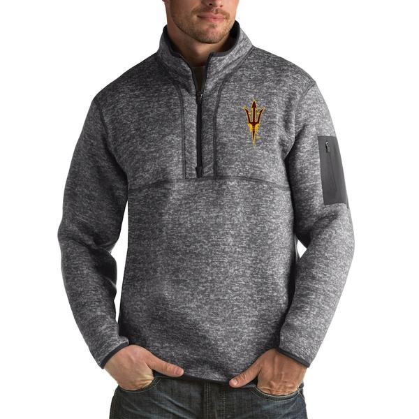 アンティグア メンズ ジャケット&ブルゾン アウター Arizona State Sun Devils Antigua Fortune Big & Tall Quarter-Zip Pullover Jacket Charcoal