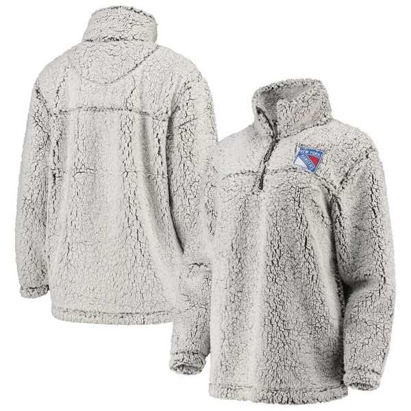 カールバンクス レディース ジャケット&ブルゾン アウター New York Rangers G-III 4Her by Carl Banks Women's Sherpa Quarter-Zip Pullover Jacket Gray