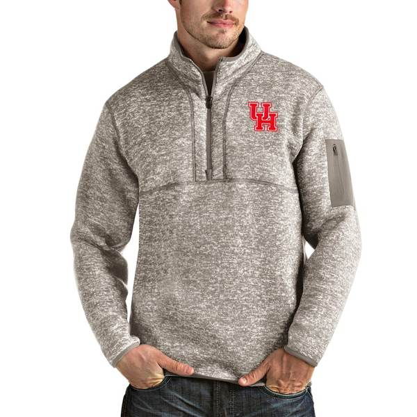 アンティグア メンズ ジャケット&ブルゾン アウター Houston Cougars Antigua Fortune Half-Zip Pullover Jacket Oatmeal