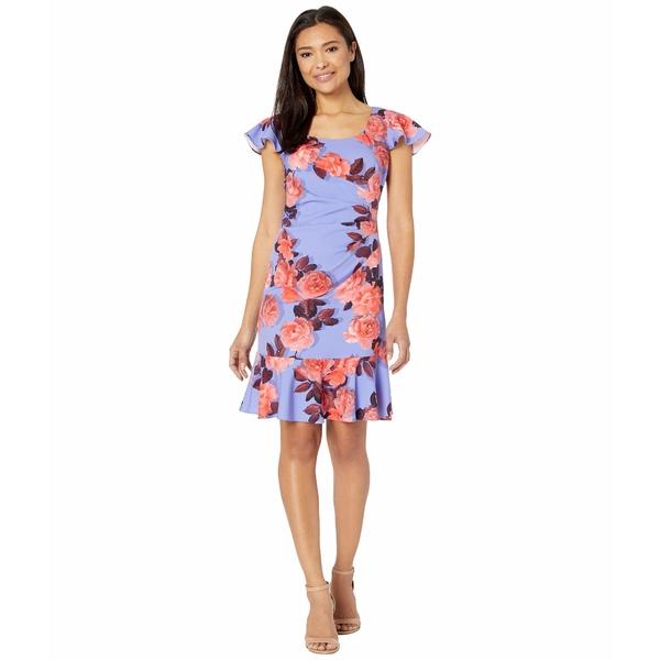 アドリアナ パペル レディース ワンピース トップス Photo Floral Flounce Dress Peri/Coral
