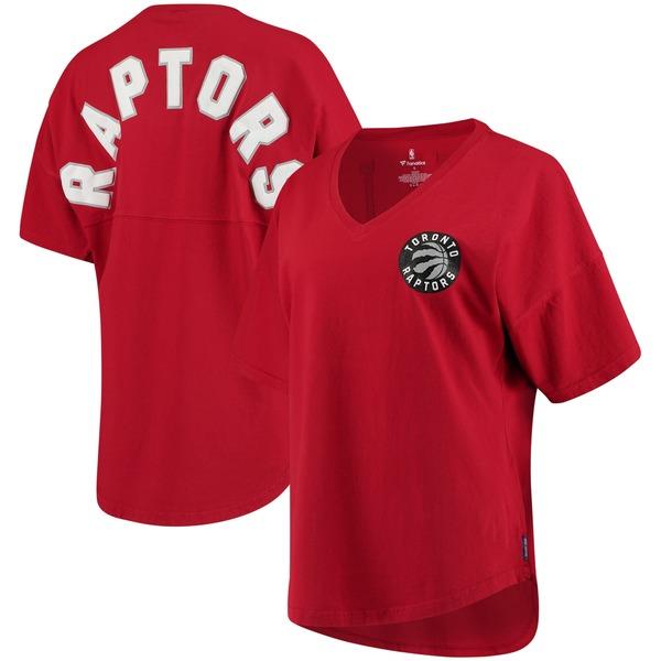 ファナティクス レディース Tシャツ トップス Toronto Raptors Fanatics Branded Women's Baseline Spirit Jersey VNeck TShirt Red