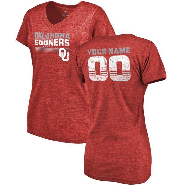 ファナティクス レディース Tシャツ トップス Oklahoma Sooners Fanatics Branded Women's Personalized Retro TriBlend VNeck TShirt Crimson