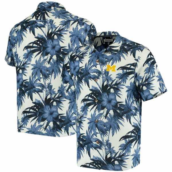 トッミーバハマ メンズ シャツ トップス Michigan Wolverines Tommy Bahama Harbor Island Hibiscus ButtonUp Shirt Navy