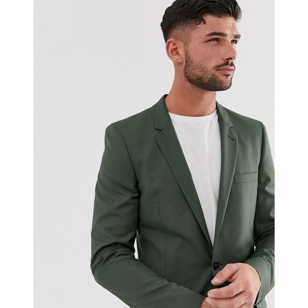 エイソス メンズ ジャケット&ブルゾン アウター ASOS DESIGN skinny suit jacket in khaki Green