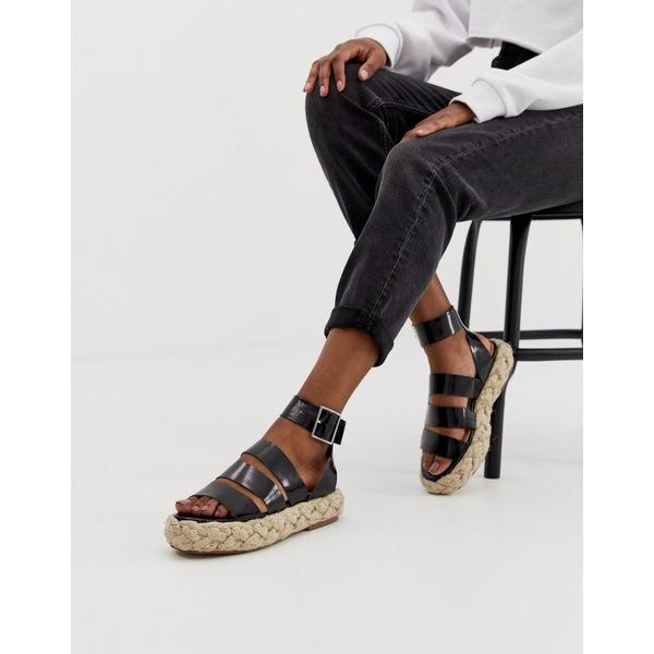 エイソス レディース スリッポン・ローファー シューズ ASOS DESIGN Jao chunky espadrille sandals Black