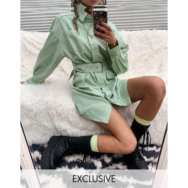 コリュージョン レディース ワンピース トップス COLLUSION belted shirt mini dress in green Green