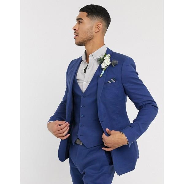 linen in cotton ASOS DESIGN アウター jacket ジャケット&ブルゾン エイソス navy メンズ super skinny stretch wedding in Navy suit