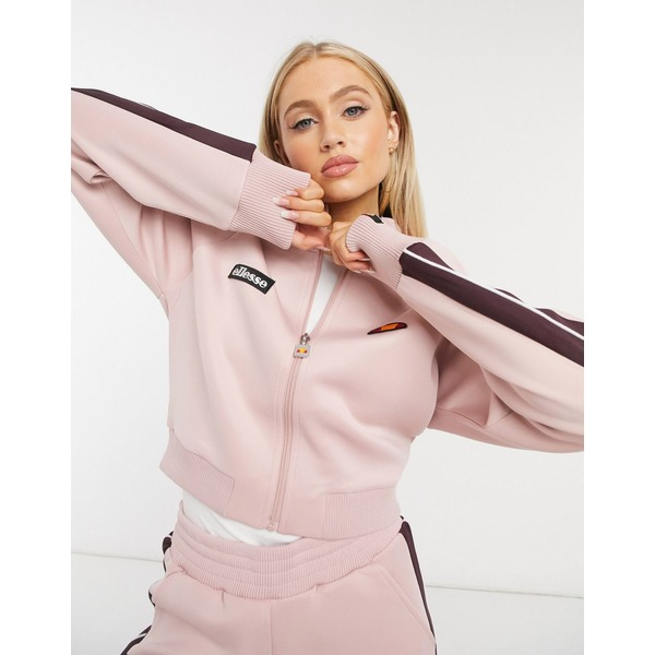 エレッセ レディース ジャケット&ブルゾン アウター ellesse neoprene cropped track jacket in pink two-piece Pink