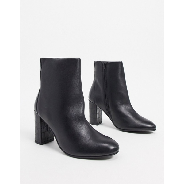エイソス レディース ブーツ&レインブーツ シューズ ASOS DESIGN Resilient leather heeled boots in black Black leather