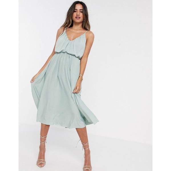 エイソス レディース ワンピース トップス ASOS DESIGN cami plunge midi dress with blouson top in sage green Sage green