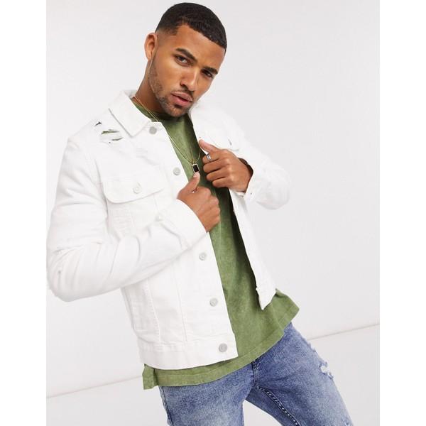 エイソス メンズ ジャケット&ブルゾン アウター ASOS DESIGN skinny denim jacket in white with rips White