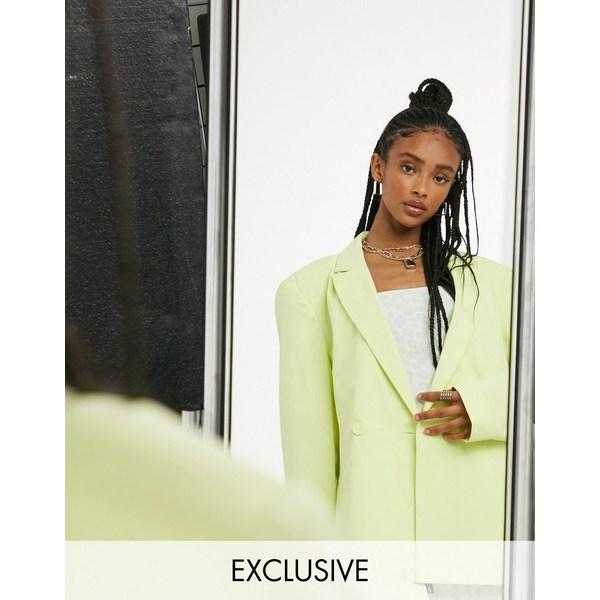 コリュージョン レディース ジャケット&ブルゾン アウター COLLUSION Unisex oversized blazer in pastel lime Pastel lime