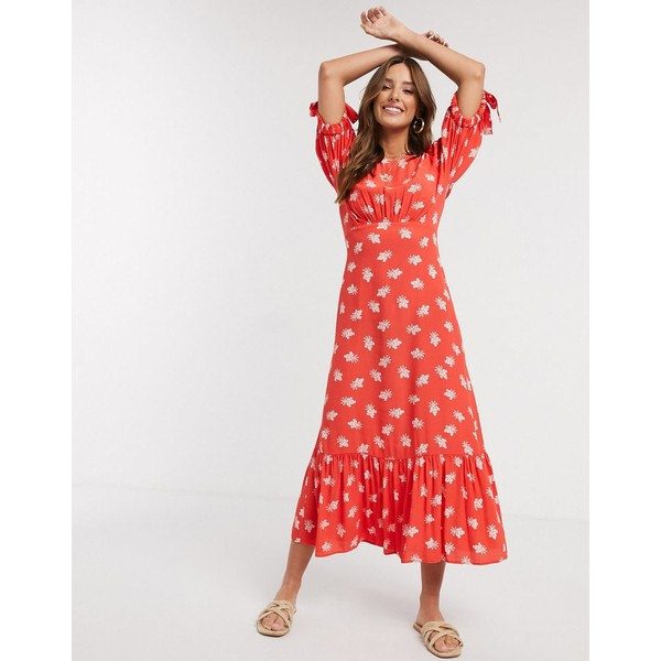 ゴースト レディース ワンピース トップス Ghost fluerette crepe floral midi dress in red Sweetheart