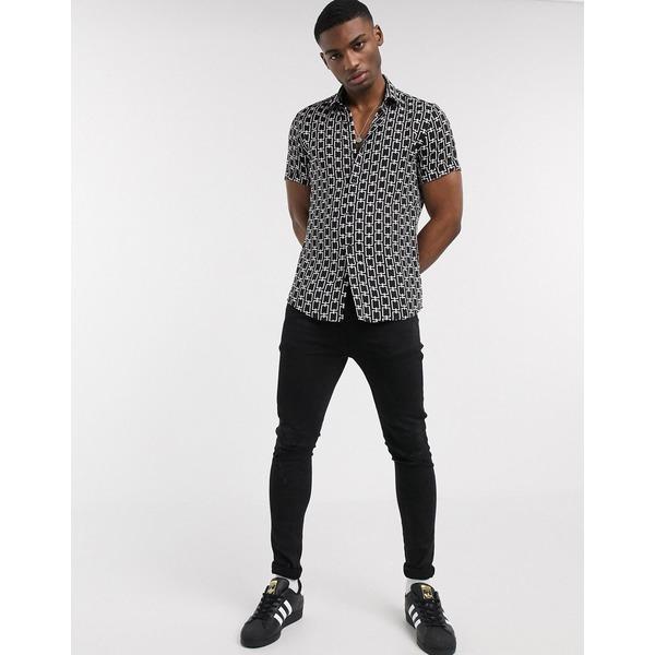 リバーアイランド メンズ シャツ トップス River Island shirt with chain print in black Black