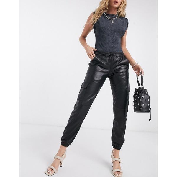 レディース in Goosecraft utility ボトムス グースクラフト black leather カジュアルパンツ pants Black