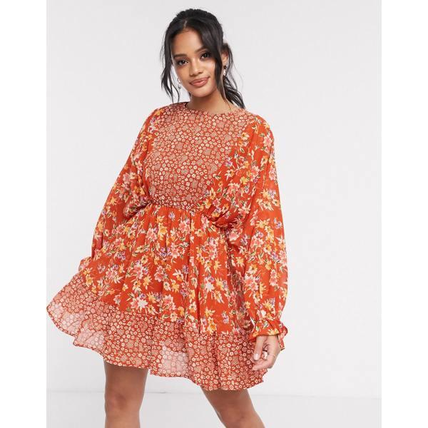 エイソス レディース ワンピース トップス ASOS DESIGN mixed floral print mini skater dress with fluted cuffs Rust based floral