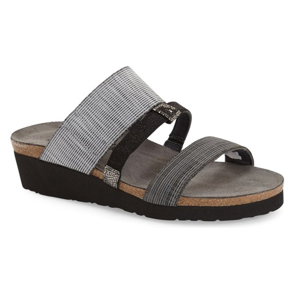 ナオト レディース サンダル シューズ Naot 'Brenda' Slip-On Sandal (Women) Grey/ Black Leather Fabric