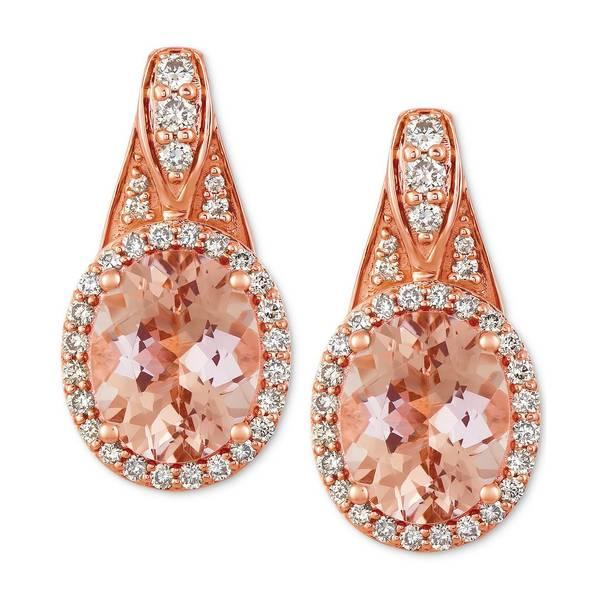 【国際ブランド】 ルヴァン レディース ピアス&イヤリング アクセサリー Peach & Nude Peach Morganite (1-3/4 ct. t.w.) & Nude Diamond (1/3 ct. t.w.) Drop Earrings in 14k Rose Gold Morganite, HEAVEN Japan d58277ac