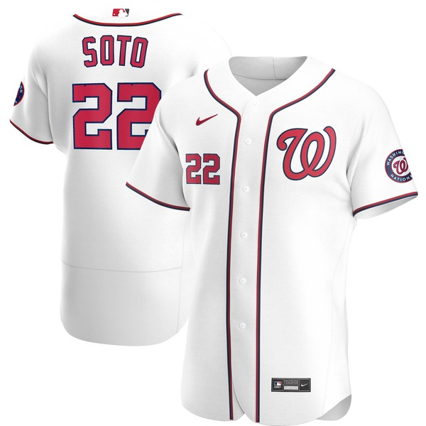 ナイキ メンズ ユニフォーム トップス Juan Soto Washington Nationals Nike Home 2020 Authentic Player Jersey White